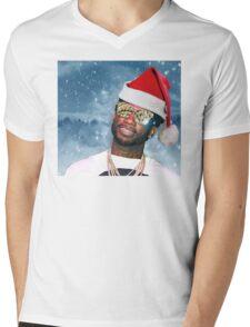 Gucci Mane Santa Snow Background- Christmas Mens V-Neck T-Shirt
