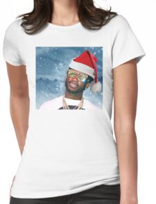 Gucci Mane Santa Snow Background- Christmas Womens Fitted T-Shirt
