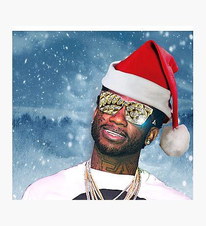 Gucci Mane Santa Snow Background- Christmas Photographic Print