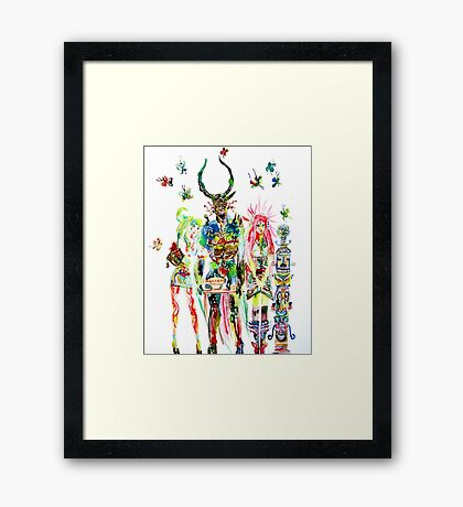 THREE HORNED DEMON WITH TEA TRAY,TWO GIRLS,NINE  Framed Print