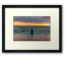 Sunset at Crosby Beach, Liverpool Framed Print