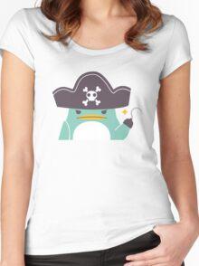 Grumpy cartoon pirate penguin Women's Fitted Scoop T-Shirt