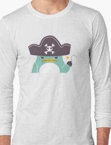 Grumpy cartoon pirate penguin Long Sleeve T-Shirt