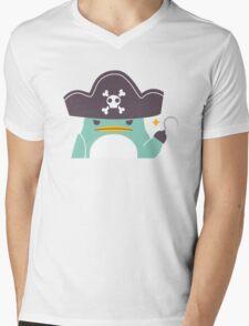 Grumpy cartoon pirate penguin Mens V-Neck T-Shirt