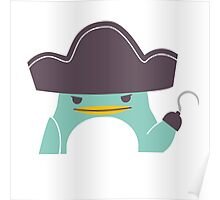 Happy funny cartoon penguin pirate Poster