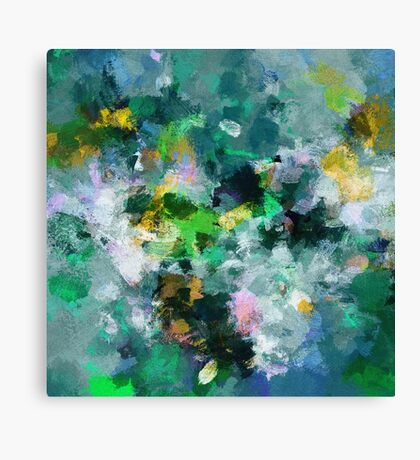 Green and Yellow Abstract Art Canvas Print