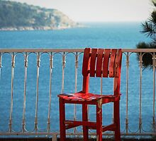 Red Chair On A Blue Sea by SuzannemorriS