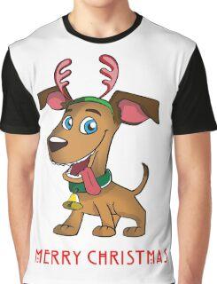 Cute Merry Christmas Reindeer Dog/Puppie Graphic T-Shirt