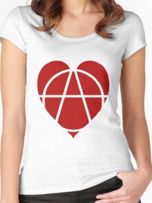 Red Anarchist Heart Women's Fitted Scoop T-Shirt