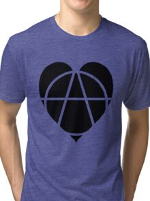Black Anarchist Heart Tri-blend T-Shirt