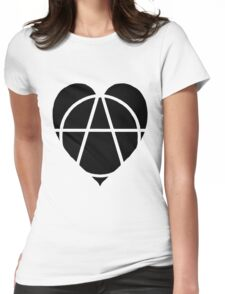 Black Anarchist Heart Womens Fitted T-Shirt