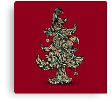 Christmas tree made of hair. Beautiful greeting card. Canvas Print