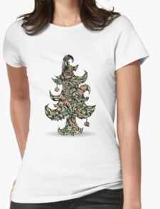 Christmas tree made of hair. Beautiful greeting card. Womens Fitted T-Shirt