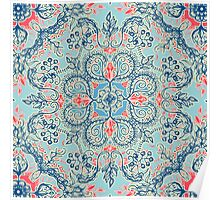 Gypsy Floral in Red & Blue Poster