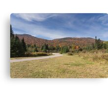 Fall colours with lake in Canada Canvas Print