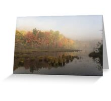 Fall colours over a lake in the early morning Greeting Card