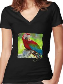 Wild Life Series - Red Macaw Parrot Women's Fitted V-Neck T-Shirt