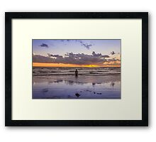 Autumn sunset at Crosby Beach Framed Print