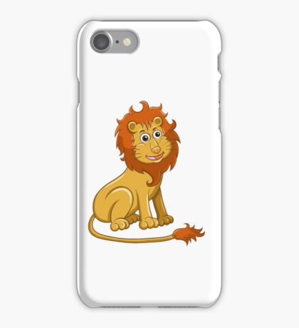Cute funny cartoon lion sitting iPhone Case/Skin