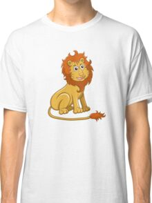 Cute funny cartoon lion sitting Classic T-Shirt