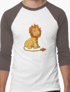Cute funny cartoon lion sitting Men's Baseball ¾ T-Shirt