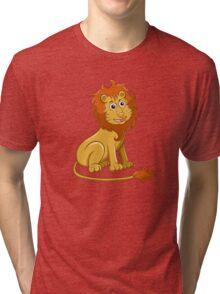 Cute funny cartoon lion sitting Tri-blend T-Shirt