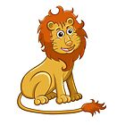 Cute funny cartoon lion sitting by berlinrob