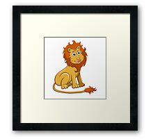 Cute funny cartoon lion sitting Framed Print