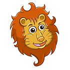 Head of smiling cartoon lion by berlinrob