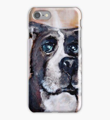 hund kopf doberman schnauzer freund treuer blick braun acryl malerei iPhone Case/Skin
