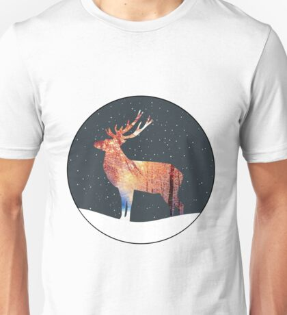 Christmas Reindeer In Snowy Forest Unisex T-Shirt