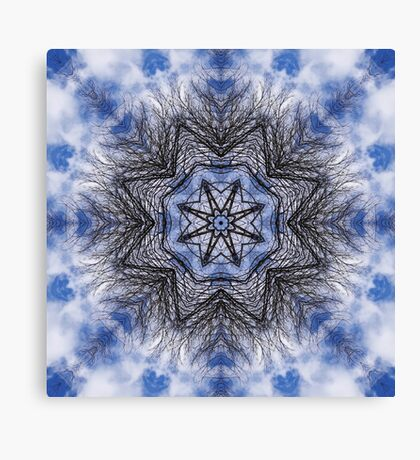Branches, clouds and sky kaleidoscope Canvas Print