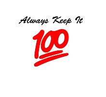 Keep it 100 Emoji Shirt Photographic Print