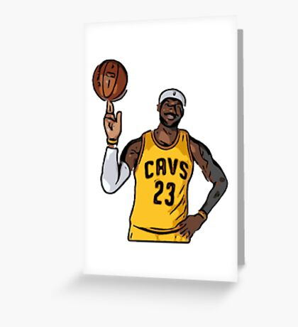 Lebron James 23 Cavs Spinning Ball Greeting Card