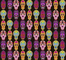Sugar Skulls Pattern in 5 Different Styles on Black Background by ibadishi