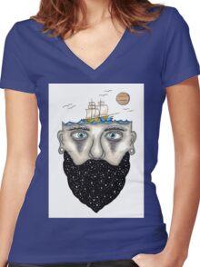 Sailor Beard Women's Fitted V-Neck T-Shirt