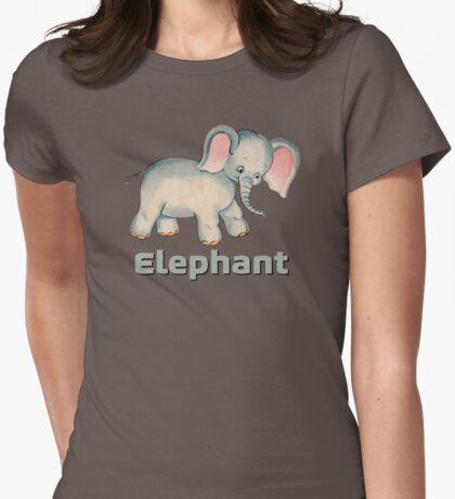 Cute Baby Elephant pattern vintage illustration for children Womens Fitted T-Shirt