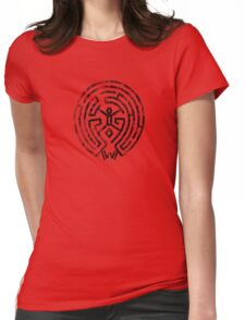 Westworld Black Maze Symbol Distressed Womens Fitted T-Shirt