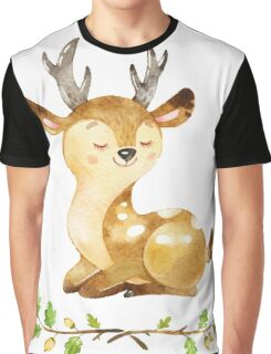 Cute Adorable Watercolor Woodland Baby Deer Graphic T-Shirt