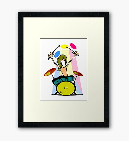 Drummer Cartoon Framed Print