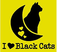 Limited Edition 'I Love Black Cats' Heart T-Shirt Photographic Print