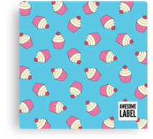 Cupcakes, with Awesome label Canvas Print