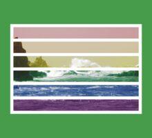 LGTB flag on waves crashing One Piece - Short Sleeve