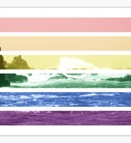 LGTB flag on waves crashing Sticker