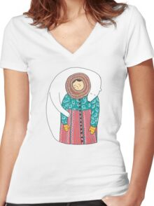 Lady And Her Polar Bear Friend Women's Fitted V-Neck T-Shirt