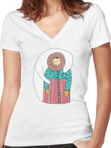 Lady And Her Polar Bear Friend T-shirt femme moulant col V