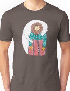 Lady And Her Polar Bear Friend Unisex T-Shirt