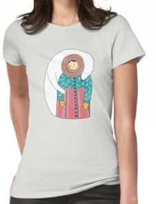 Lady And Her Polar Bear Friend Womens Fitted T-Shirt