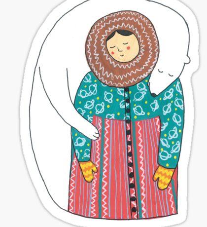 Lady And Her Polar Bear Friend Sticker