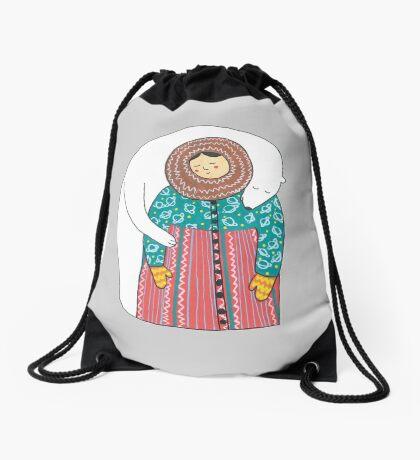 Lady And Her Polar Bear Friend Drawstring Bag